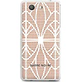 Sony Xperia Z3 Compact Hülle Silikon Case Schutz Cover Muster BARRE NOIRE Pink Grid