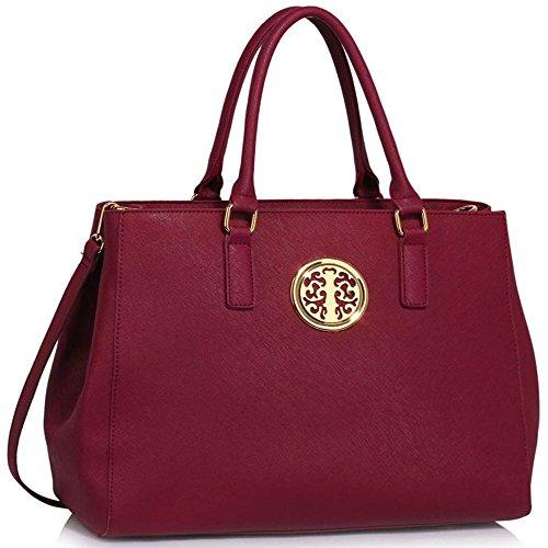 Damenhandtaschen Der Frauen Schulterbeutel Designer Neue Promi Stil Trage Groß (Lila Trage Bag1) Burgund 1