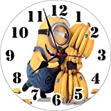 Wall Clock 3D Minions Wall Clock Watch Vintage Analogue Movement Wall Clock Without Glass For Home / Kitchen / Living Room / Bedroom / Office Designer Wall Clock /Retro Vintage Hand Made 3D Wall Clock / Antique Clock Decorative