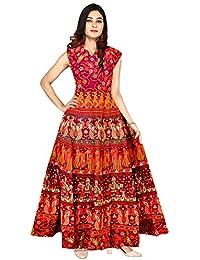 Silver Organisation Women's Cotton Jaipuri Printed Maxi Long Dress