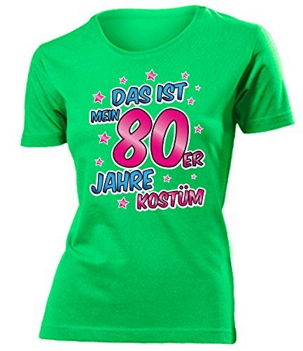 80er Jahre Kostüm Damen T Shirt Karneval Fasching Motto Schlager Party Verkleidung Schlagerkleidung Mottoparty Deko Schlagerfan Hemd Schlagerkleid (80 Erwachsenen Kostüme)