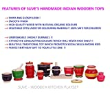 SUVE Wooden Kitchen(Cooking) Playset For Girls(14 Pcs) /Shiny & Glossy Wooden Choppu Jaman / Traditional Cooking Playset / Wooden Toy Kitchen Playset For Girls/ Perfect Birthday Gift for kids / Princess Kitchen Set / Pretend Play Kitchen Set for Kids