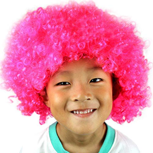 Fan-prop (Luckhome Perückelockig Kurze Perücke Kunsthaar Party Disco Lustige Afro Clown Haar Fußball Fan-Kinder Maskerade Prop Karneval Kopfschmuck Explosion Kopf Dress Up Fan(H))