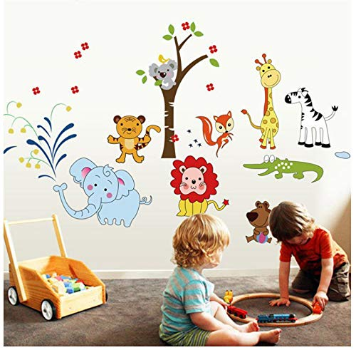Tier Löwe Elefant Wandaufkleber Dschungel Zoo Giraffe Blumen Baum Safari Dekor Kindergarten Baby Kinderzimmer Schlafzimmer Dekore Kunst
