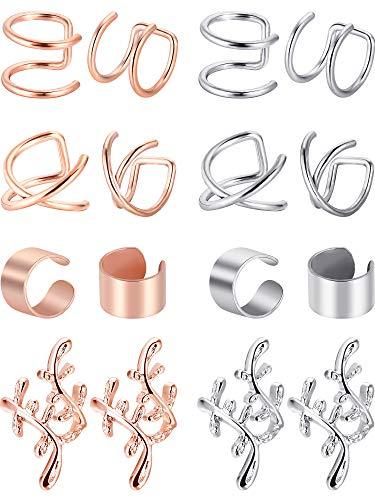 Blulu 8 Paar Nicht Piercing Edelstahl Ohr Manschette Set Knorpel Manschette Clip Auf Ohrringe Gefälschte Ohr Manschette für Damen (Stahl und Rose Gold)