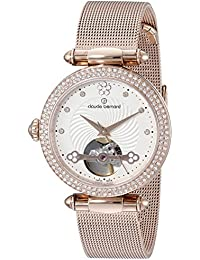 Claude Bernard Women's 85023 37RPM APR Dress Code Rose Gold-Tone Automatic Watch with Swarovski Crystals