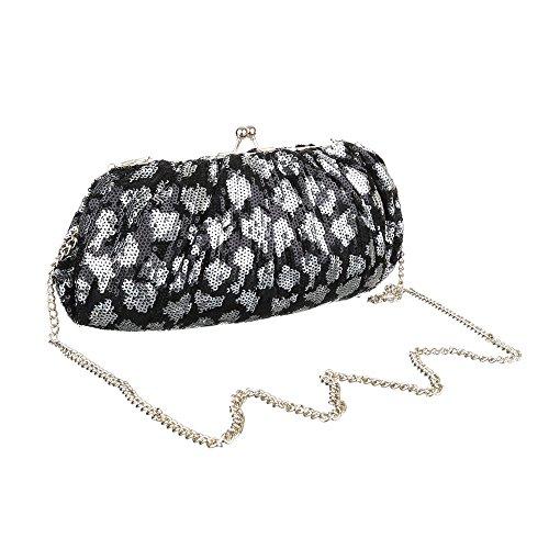 Damen Tasche, Abendtasche, Kleine Schultertasche Clutch, Synthetik, TA-K526 Schwarz Silber