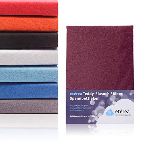 #5 Etérea Teddy Flausch Kinder-Spannbettlaken, Spannbetttuch, Bettlaken, 18 Farben, 60x120 cm - 70x140 cm, Bordeaux