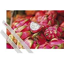 Póster + Soporte: Frutas Póster (91x61 cm) Dragon Fruit Y 1 Lote De 2 Varillas Transparentes 1art1®
