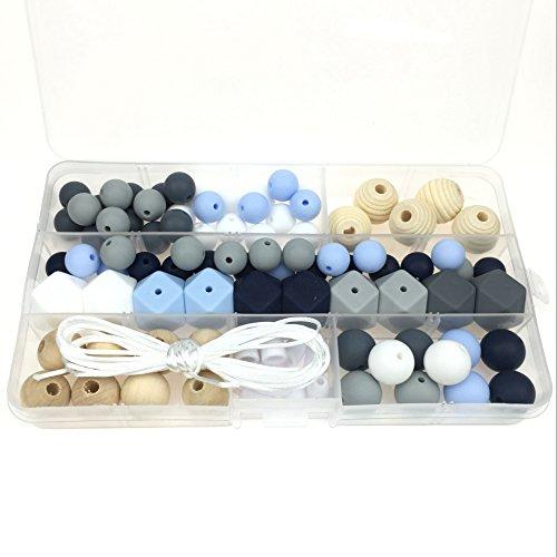 Mamimami Home Silikon Perlen DIY Handgefertigt Mama Schmuck Charme Anhänger Halskette Baby-Rassel Sinnesspielzeug wegbrechen Schließe (Halskette Perle)