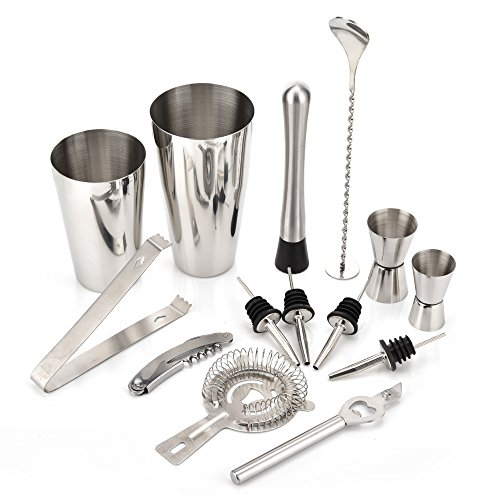 Fontic Bar Edelstahl Cocktailshaker Set Boston 14 pcs Getränk Shaker Kit 800/600ML Cocktailshaker,...