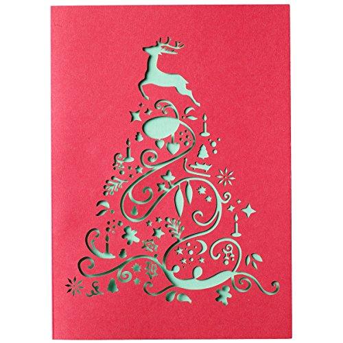 Weihnachtskarten 10er Set Santa Lucia - Rot/Grün - Weihnachtsbaum Stanzung