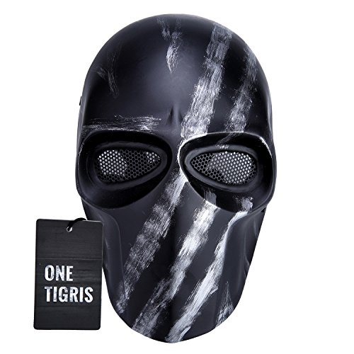 OneTigris Taktische Vollschutzmaske Softair Maske Cosplay Karneval Maske Airsoft BB gun CS Kampf Maske (Silber Schwarz) (Taktische Airsoft Guns)