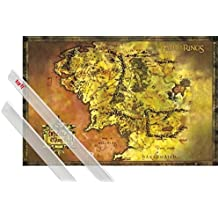 Póster + Soporte: El Señor De Los Anillos Póster (91x61 cm) Mapa Clásico De La Tierra Media Y 1 Lote De 2 Varillas Transparentes 1art1®