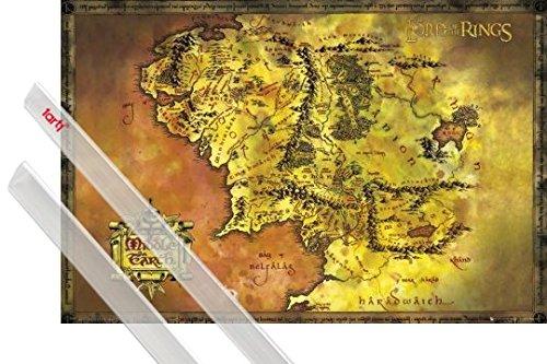 Póster + Soporte: El Señor De Los Anillos Póster (91x61 cm) Mapa Clásico De La Tierra Media Y 1 Lote De 2 Varillas Transparentes