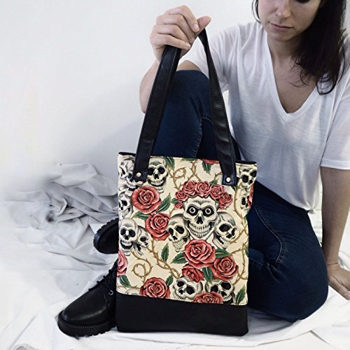 Bolso Tote Bag Calaveras y Rosas