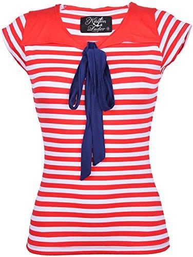 Küstenluder Damen Oberteil Doris Streifen Matrosen Shirt Rot