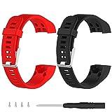 2ruentech Ersatz Silikon Band weiche Bänder Riemen Armbänder für Garmin Vivosmart HR + Smartwatch Zubehör, 2pcs-A
