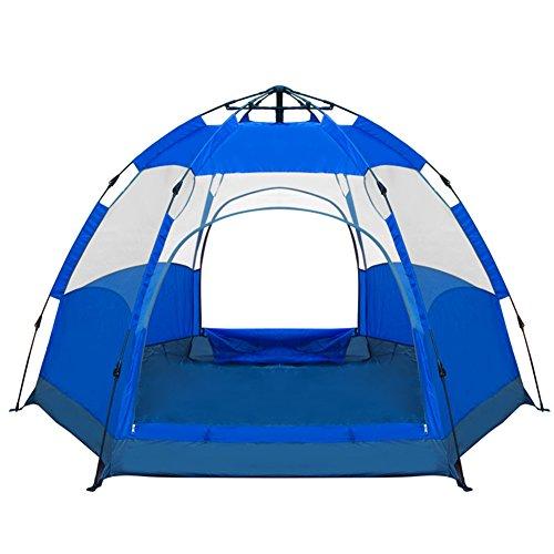 Mqhy tent apertura automatica della tenda esagonale viaggi outdoor tende da campeggio molte persone con doppio pavimento grandi tende anti pioggia tende antivento,blu,6-9 persone