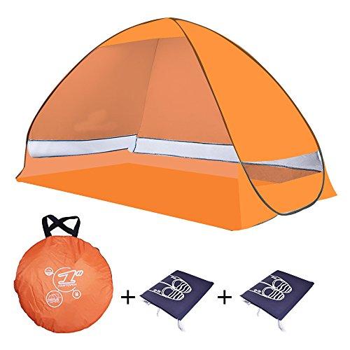 Tenda da spiaggia portatile di tipo pop-up, a montaggio automatico, con protezione UV 50+ e spazio giochi per bambini, per uso in interni o in esterni, in grado di ospitare 2 adulti con bambini, multicolore, con borse porta scarpe incluse, Orange