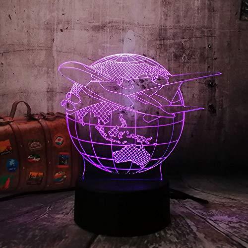 3D Nachtlicht Lampe Erde Plan Flugzeuge Globus Erde 7 Farbwechsel Kind Kind Tisch Schreibtisch Dekor Halloween Weihnachten