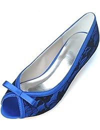 RUGAI-UE Pattini della pompa del tallone delle donne il pattino del diamante della punta del piede del tallone del sandalo, bianco, US8…