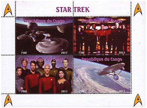 Star Trek TV-Show Minze Briefmarkenbogen von vier Briefmarken. Briefmarken zeigen verschiedene Standbilder aus TV-Show Szenen einschließlich Schiffsbesatzungsmitglieder und des Raumschiffs Enterprise selbst - Kongo / 2013/4 Briefmarken -