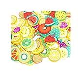 Malloom® 50 Stücke bunte diy 3d fimo scheibe gesicht dekoration für hausgemachten schleimhaut machen handwerk Schleim DIY Spielzeug 3D Slice (Liebe / Smiley / Kuchenrolle / Obst) (C)