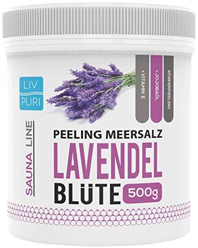 LivPuri Lavendel Körperpeeling Meersalz 500g Natürliches Hautpeeling mit Jojobaöl - Ideal in der Dusche, Badewanne, Dampfbad und Sauna anwendbar