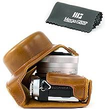 MegaGear Etui Souple en Cuir pour, Housse pour Panasonic Lumix DC-GX850, GX800, DC-GF9, DMC-GF8, DMC-GF7 avec 12-32mm Photo Compacts (Marron Clair)