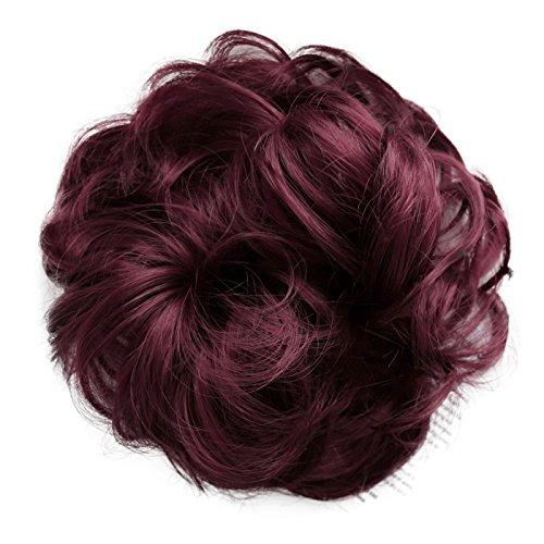 PRETTYSHOP Haarteil Haargummi Hochsteckfrisuren unordentlicher Dutt gewellt VOLUMINÖS weinrot #188 G27A