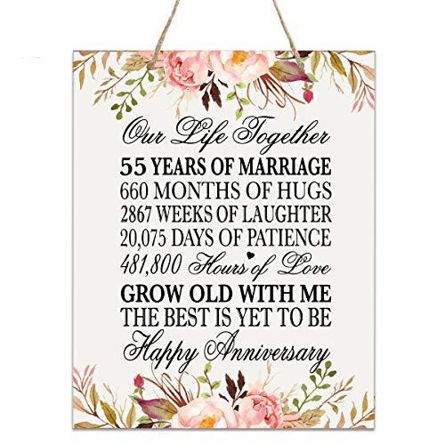 LifeSong Plakette zum 55. Jahrestag der Hochzeit - 50. Jahrestag Hochzeit, Andenken, Geschenk für Eltern, Ehemann, Ehefrau, Ihn - Our Life Together 12x15 Floral Rope Sign