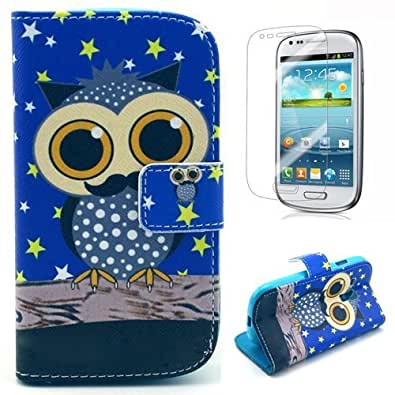 Semoss - PU Flip Leather With Stand Function/Credit Card Slot For Samsung Galaxy S3 Mini i8190 (With Star Owl Pattern)