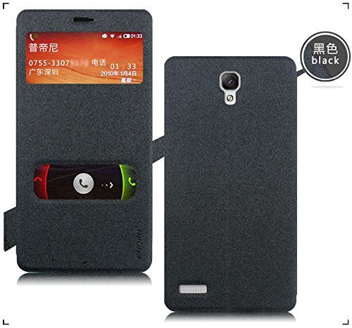 Pudini GoldSand Series Leather Flip Cover Stand Case for Xiaomi Redmi Note - Sparkling Black