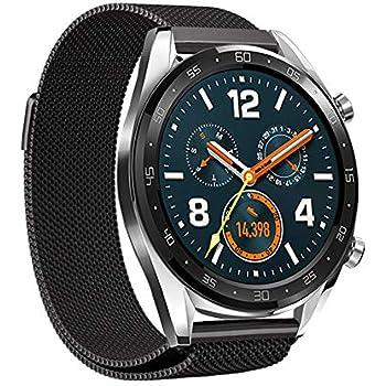 Leafboat Bracelet Compatible Fossil Gen4 Q Explorist HR de Montre, 22 mm Bande de Rechange milanese, Unisexe Smart Watch Accessoires (Noir Milanese)