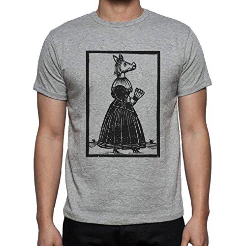 Pig Animal Farm Hog Woman Head Herren T-Shirt Grau