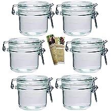 Gouveo Vasetti in vetro per marmellate e conserve, con scrocchetto metallico, incluso ricettario di 28 pagine (lingua italiana non garantita), Set da 6, 250 ml