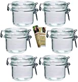 gouveo 6er Set Bügelgläser 250 ml incl. 28-seitige Flaschendiscount-Rezeptbroschüre Einmachgläser Marmeladengläser mit Bügelverschluss