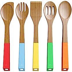 Hilai Juego de 5 cucharas de bambú para Utensilios de Cocina, cucharas de Madera y Espátula