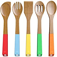 Hilai 5 Piece Bamboo Spoons Cooking Utensils - Wooden Spoons and Spatula Utensil Set - Bamboo Wood Nonstic