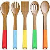 Switty Juego de 5 cucharas de bambú para utensilios de cocina, cucharas de madera y espátula, madera de bambú no stica