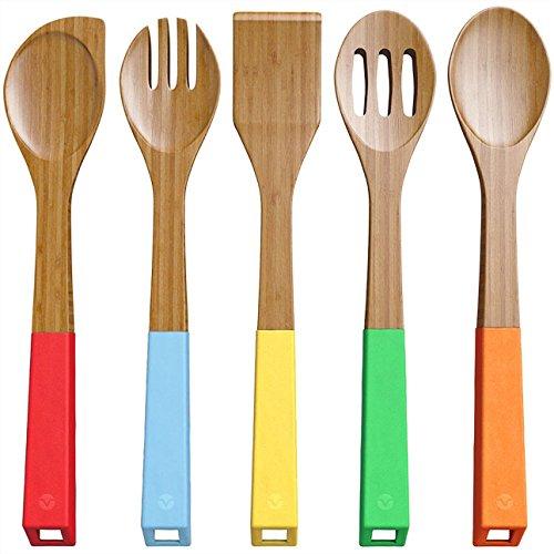 Hilai 5pezzi bambù cucchiai utensili da cucina–Set di utensili cucchiaio e spatola di legno–legno di bambù Nonstic