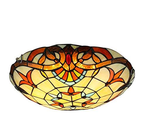 Yjmgrowing Tiffany Style Barock LED Deckenleuchten Unterputz handgefertigte Glasmalerei Deckenleuchte für Wohnzimmer Flureinstiegsbeleuchtung, LED Chip,3colorlight,50cm - Barock Deckenleuchte