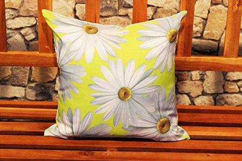 Kamaca Serie MARGERITEN hochwertiges Druck-Motiv mit großen Margertiten Blüten EIN echter Eyecatcher (Kissenhülle 40x40 cm, Mint)