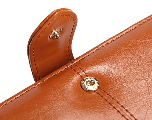 Portafoglio donna con borsa multiuso di borsa di lusso delle signore con tasca di chiusura lampo (arancione) Marrone