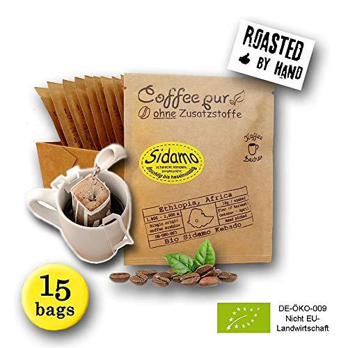 Life is You! Coffee Bags | (BIO) Kaffee Sidamo aus den Waldgärten in Äthiopien | 15 Coffee Bags (für Becher) | handgerösteter Filterkaffee zum Aufbrühen | Aus