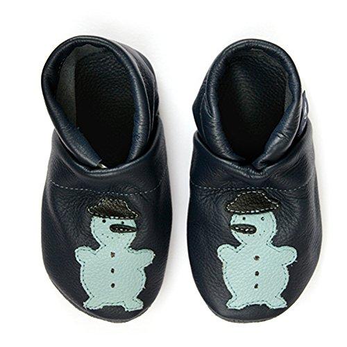 pantau.eu Leder Babyschuhe Lederpuschen Krabbelschuhe Lauflernschuhe mit Schneemann BLAU_HELLBLAU_SCHWARZ