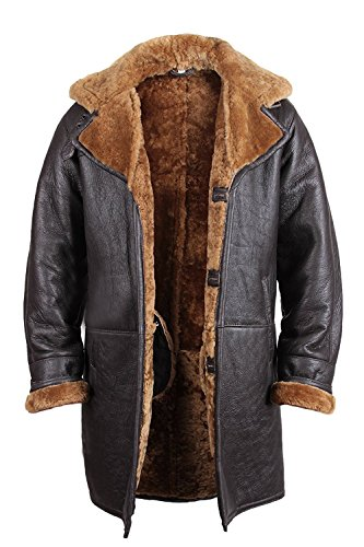 Herren Mantel Warm Winter Echt Lammfell Schafsleder Leder Mantel Braun (Medium)