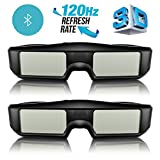 2 x G06-BT 3D Brille Aktive Shutter Bluetooth Smart Glasses für HD 3D TV Fernseher, ExquizOn, Wiederaufladbar, Sony/Panasionic/Sharp/Toshiba/Mitsubishi/Samsung (Doppelpack)