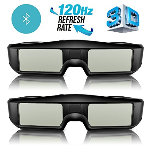 G06-BT 3D Brille Aktive Shutter Bluetooth Smart Glasses für HD 3D TV Fernseher, ExquizOn, Wiederaufladbar, Sony/Panasionic/Sharp/Toshiba/Mitsubishi/Samsung (Doppelpack)